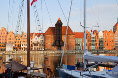 Old harbour of Gdansk. With Zuraw (oldest crane) , Poland Royalty Free Stock Images