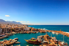 Old harbour in Kyrenia, Cyprus. Royalty Free Stock Images
