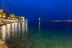 Old harbour with Lighthouse, Chania, Crete, Greece Stock Image