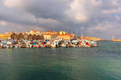 Old harbour in the morning, Chania, Crete, Greece Stock Photo