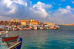 Old harbour in the morning, Chania, Crete, Greece Stock Images