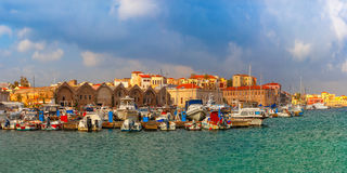 Old harbour in the morning, Chania, Crete, Greece Royalty Free Stock Image