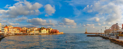 Old harbour in the morning, Chania, Crete, Greece Stock Image