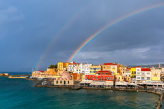 Old harbour in sunny day, Chania, Crete, Greece Royalty Free Stock Photography