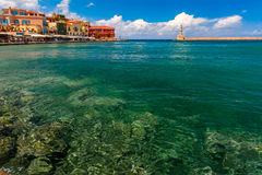 Old harbour in sunny day, Chania, Crete, Greece Stock Image