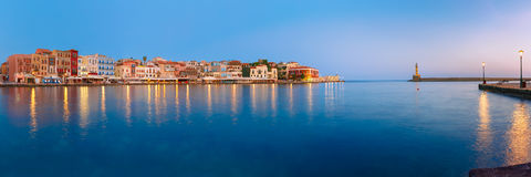 Old harbour at sunrise, Chania, Crete, Greece Stock Images