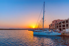 Old harbour at sunset, Chania, Crete, Greece Stock Images