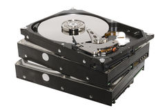 Old hard drives stacked isolated Stock Photography