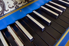 Old harpsichord keyboard, close-up view Royalty Free Stock Image