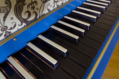 Old harpsichord keyboard, close-up view Royalty Free Stock Photography