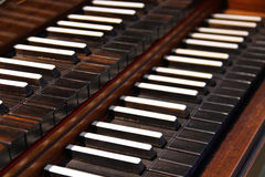 Old harpsichord keys Stock Image