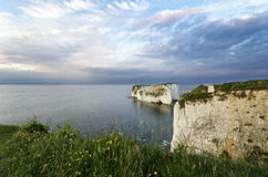 Old Harry Rocks. Chalk sea stacks called Old Harry's Rocks near Swanage in Dorset and marking the start of the Jurassic Coast Stock Images