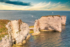 Old Harry Rocks in dawn in Dorset, Jurrasic coast, Swanage Royalty Free Stock Photography