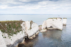 Old Harry Rocks, Dorset, United Kingdom. The Old Harry Rocks are three chalk formations, including a stack and a stump, located on the Isle of Purbeck in Dorset Royalty Free Stock Photos