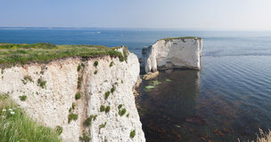 Old Harry Rocks Panorama Stock Photo