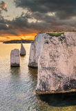 Old Harry Rocks in sunset chalk formation in Dorset Royalty Free Stock Image