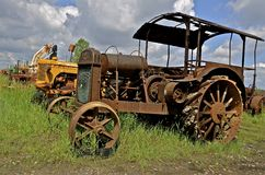 Old Hart Parr rusty tractor. BARNESVILLE, MINNESOTA, June 2, 2014:The old rusty Parr comes from Hart-Parr Tractor Company which began operations in 1897 and sold royalty free stock images