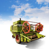 Old harvester. Old classic small harvester combine with clipping path Royalty Free Stock Images