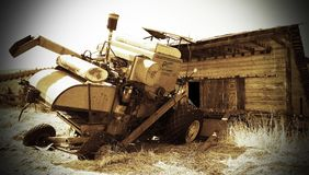 Old Harvester ( sepia ). This is the old Harvester used on the Sharp Ranch Royalty Free Stock Photography