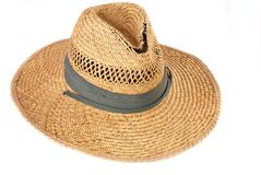 This Old Hat. Tattered, stained straw hat on white iso background Stock Images