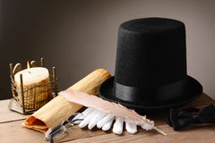 Old Hat Gloves Quill Candle Stock Photo
