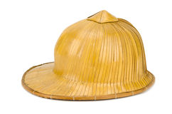 Old hat made of woven bamboo Stock Photos