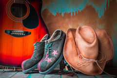 Old hat and shoes on in tourism Royalty Free Stock Images