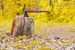 Old hatchet in wooden log Stock Image