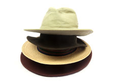 Old Hats on White Background Royalty Free Stock Photo