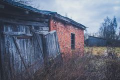 Old haunted house on the empty field.  Stock Image