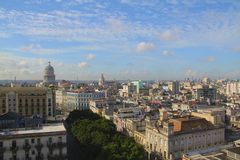 Old Havana. Aerial of old Havana city, Cuba with some interesting buildings and sky Royalty Free Stock Images