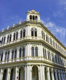 Old Havana building facade with colonial architecture against bl stock photos