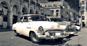 Old Havana cars panorama b&w Royalty Free Stock Photography