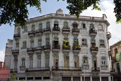Old Havana - Colonial style facade of residential building Stock Photography