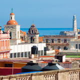 Old Havana with El Morro in the background Stock Photos