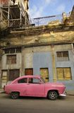 Old havana facade and vintage car royalty free stock image