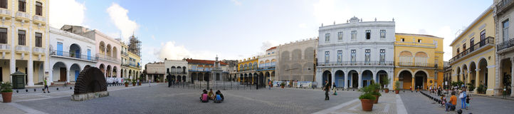 Old Havana plaza panorama, November 2008 Stock Photos