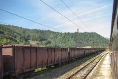 Old havy train wagons Royalty Free Stock Photo