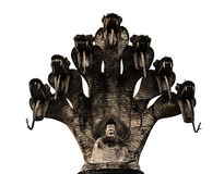 Old 7 heads naga Buddha. The Old 7 heads naga Buddha Stock Images