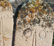 The old headstone in Greek Village Sille. Royalty Free Stock Photography