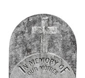 Old headstone for a mother isolated. Stock Images
