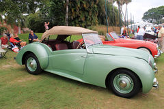Old healy convertible. Vintage 1948 Healey Westland convertible sports car at event in south florida. side view and top up royalty free stock photos