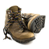 Old heavy hiking boots Stock Images