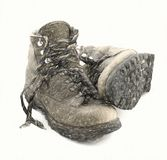 Old heavy hiking boots Royalty Free Stock Image