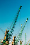 Old Heavy Loading Cranes In Port Dock Royalty Free Stock Image