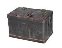Old heavy metal strongbox isolated. Stock Image