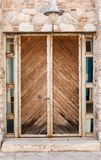 Old heavy wooden gate / door . stock photos