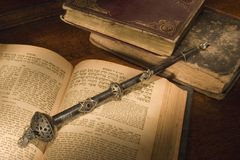 Old hebrew bible and pointer. Old hebrew bible book and antique silver pointer Stock Photo
