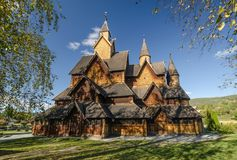 Old Heddal stave church stock image
