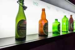 Old Heineken beer bottles stock images